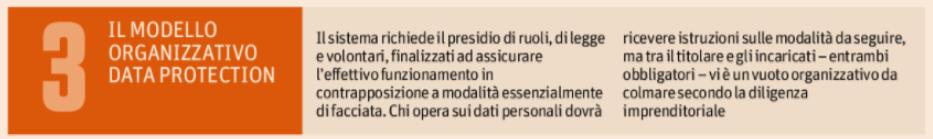 3. Il modello organizzativo data protection
